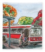 Hop On A Bus Fleece Blanket