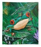 Hoppin' In The Rain Fleece Blanket