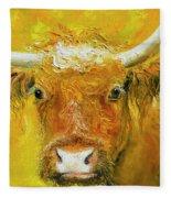 Horned Cow Painting Fleece Blanket