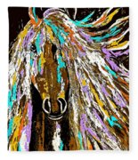 Horse Abstract Brown And Blue Fleece Blanket