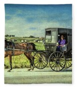 Horse And Buggy Fleece Blanket