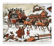 Horse And Carriage In The Snow Fleece Blanket