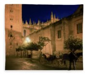 Horse And Carriage Seville Spain Fleece Blanket