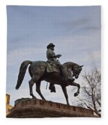 Horse And Rider Monument Fleece Blanket