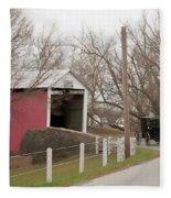 Horse Buggy And Covered Bridge Fleece Blanket