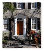 Horse Carriage In Charleston Fleece Blanket