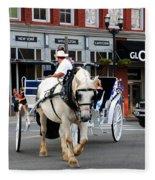 Horse Carriage In Nashville Fleece Blanket