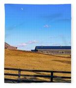 Horse Farm - Rising Moon Fleece Blanket