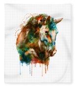 Horse Head Watercolor Fleece Blanket