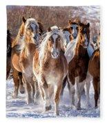 Horse Herd In Snow Fleece Blanket