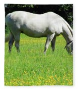 Horse In A Field Of Flowers Fleece Blanket
