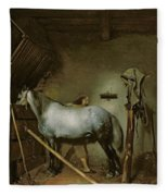 Horse In A Stable Fleece Blanket