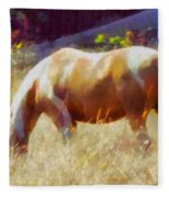 Horse In Field Fleece Blanket