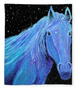Horse-midnight Snow Fleece Blanket