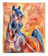 Horse On The Orange Background Fleece Blanket