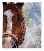 Horse Portrait Closeup Fleece Blanket