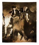 Horse Stampede Art 08a Fleece Blanket