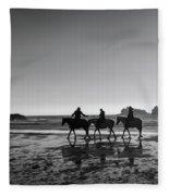Horseback Storytelling Black And White Fleece Blanket