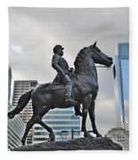 Horseman Between Sky Scrapers Fleece Blanket