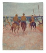 Horseman On The Beach Fleece Blanket