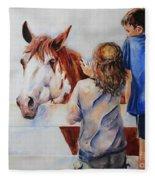 Horses And Children Painting Fleece Blanket