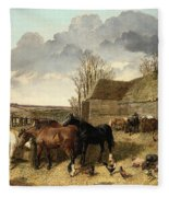 Horses Eating From A Manger, With Pigs And Chickens In A Farmyard Fleece Blanket