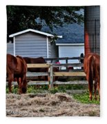 Horses Grazing Fleece Blanket