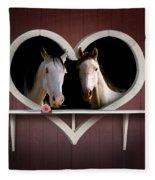 Horses In Stable Fleece Blanket