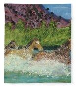 Horses In Stream Fleece Blanket