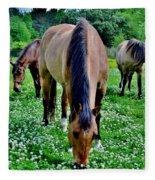 Horses In The Meadow Fleece Blanket