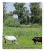 Horses On Pasture Nature Farm Scene Fleece Blanket