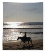 Horses On The Beach Fleece Blanket