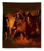 Horses Paintings 34b Fleece Blanket