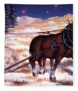 Horses Pulling Log Fleece Blanket