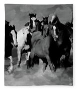 Horses Stampede 01 Fleece Blanket