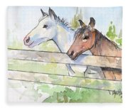 Horses Watercolor Sketch Fleece Blanket