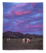 Horses With New Mexico Sunset Fleece Blanket