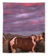 Horses With Southwest Sunset Fleece Blanket