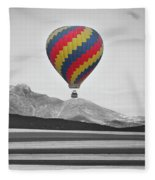 Hot Air Balloon And Longs Peak - Black White And Color Fleece Blanket