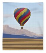 Hot Air Balloon And Longs Peak Fleece Blanket