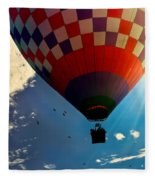 Hot Air Balloon Eclipsing The Sun Fleece Blanket