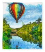 Hot Air Balloon Woodstock Vermont Pencil Fleece Blanket