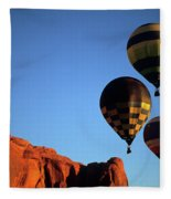 Hot Air Balloon Monument Valley 5 Fleece Blanket