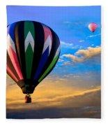 Hot Air Balloons At Sunset Fleece Blanket