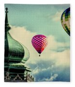 Hot Air Balloons Float Over Lewiston Maine Fleece Blanket