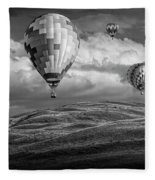 Hot Air Balloons In Black And White Over Fields Fleece Blanket