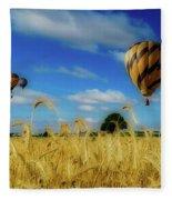 Hot Air Balloons Over A Wheat Field Fleece Blanket