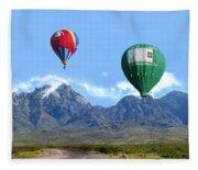 Hot Air Over The Organ Mountains Fleece Blanket