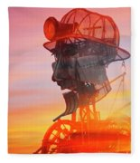 Hot And Steamy Man Engine Fleece Blanket