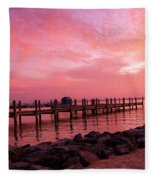 Hot Bay Sunset Fleece Blanket